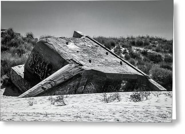 Nature Greeting Cards - Atlantic Wall Bunker Greeting Card by Wim Lanclus