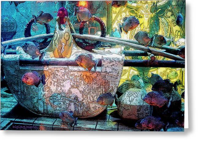 Atlantis Aquarium In Watercolor Greeting Card by DigiArt Diaries by Vicky B Fuller