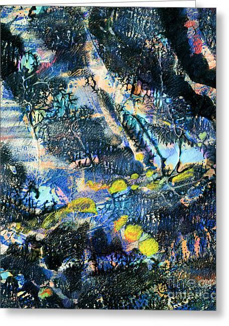 Printmaking Greeting Cards - Atlantis Greeting Card by Laura L Leatherwood