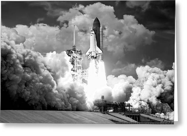 Atlantis Shuttle Launch B W Greeting Card by Daniel Hagerman