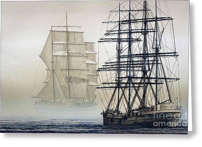 Tall Ship Canvas Greeting Cards - ATLAS and INVERCLYDE Greeting Card by James Williamson