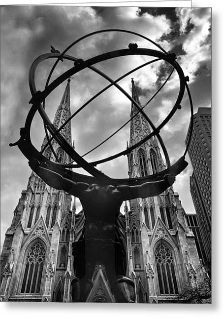 Atlas Holding The Heavens Greeting Card by Jessica Jenney
