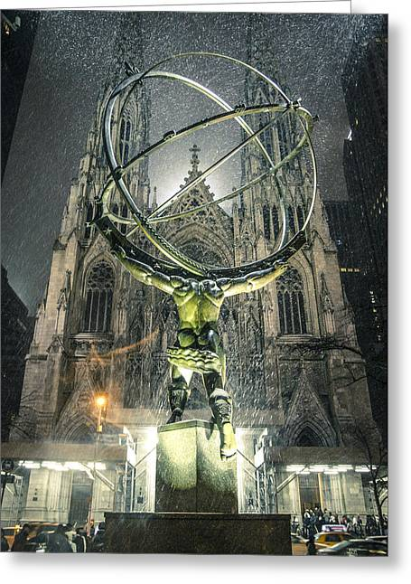 Snowy Night Night Greeting Cards - Atlas in the Snow Greeting Card by Robert Goldberg