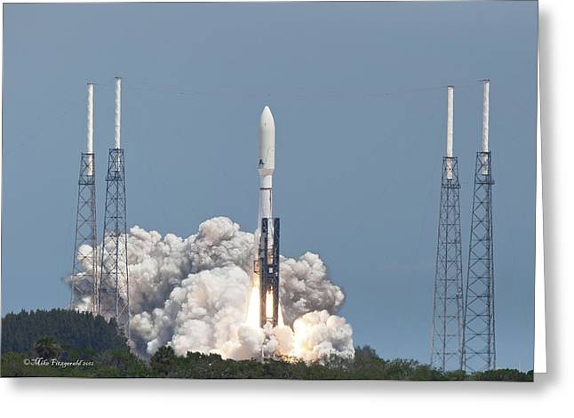 Atlas V Launch Greeting Card by Mike Fitzgerald