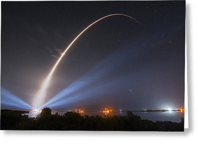 Atlas Paintings Greeting Cards - Atlas V rocket  Greeting Card by Celestial Images