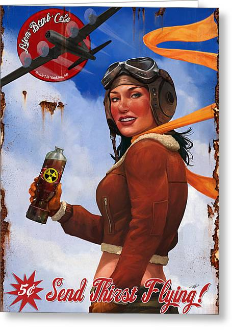 Atom Bomb Cola Send Thirst Flying Greeting Card by Steve Goad