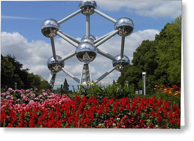 Iron Greeting Cards - Atomium Greeting Card by Kay Gilley