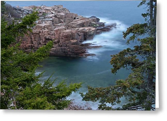 Ocean Art Photos Greeting Cards - Atop of Maine Acadia National Park Monument Cove  Greeting Card by Juergen Roth