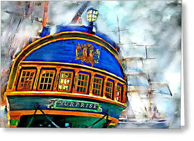 Ocean Sailing Greeting Cards - Attack in the Fog Greeting Card by Tim Tompkins