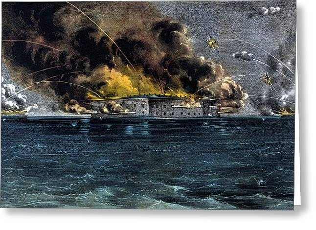 Battle Greeting Cards - Attack On Fort Sumter Greeting Card by War Is Hell Store