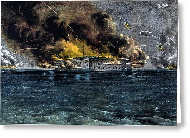 Civil Greeting Cards - Attack On Fort Sumter Greeting Card by War Is Hell Store