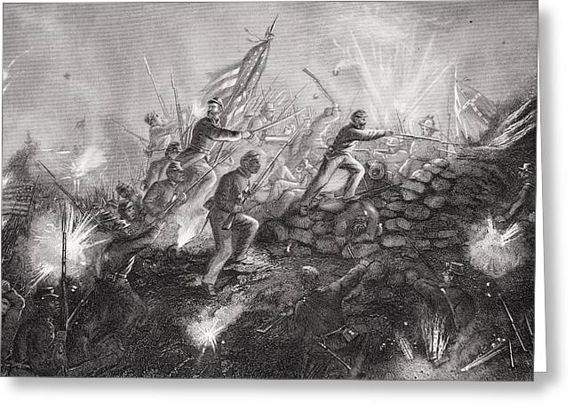 Charleston Drawings Greeting Cards - Attack On Fort Wagner On Morris Island Greeting Card by Ken Welsh