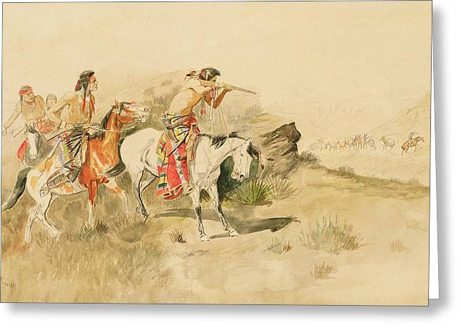 Attack On The Muleteers Greeting Card by Charles Marion Russell