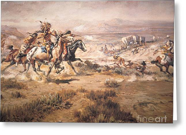 Attack On The Wagon Train Greeting Card by Charles Marion Russell
