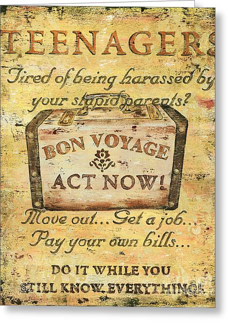 Distressed Greeting Cards - Attention Teenagers Greeting Card by Debbie DeWitt