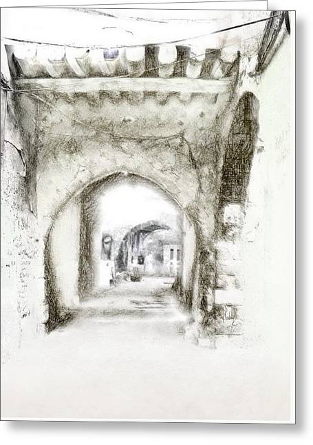 Town Mixed Media Greeting Cards - Attraction Greeting Card by Freddy Kirsheh