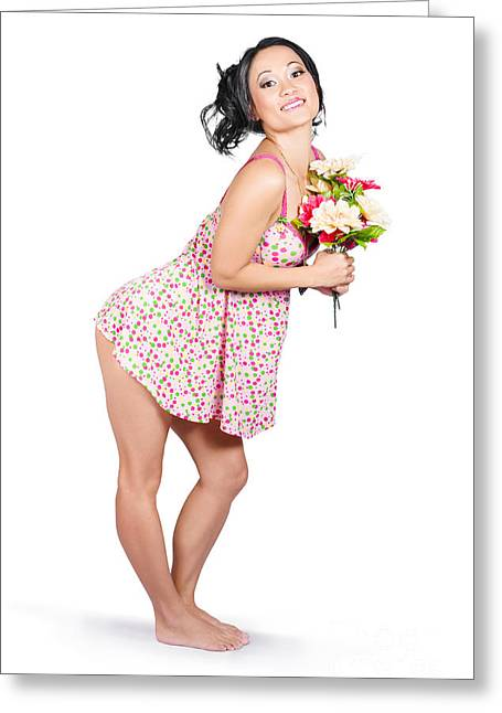 Attractive Asian Woman Holding A Flower Bunch Greeting Card by Jorgo Photography - Wall Art Gallery