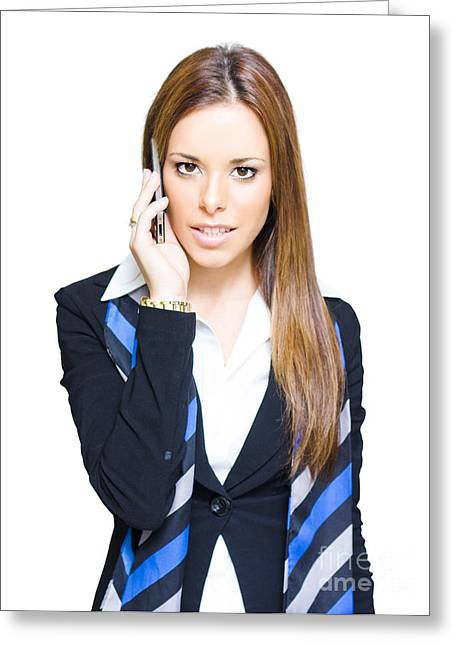 Attractive Female Greeting Cards - Attractive Confident Business Woman On Smart Mobile Phone Greeting Card by Ryan Jorgensen