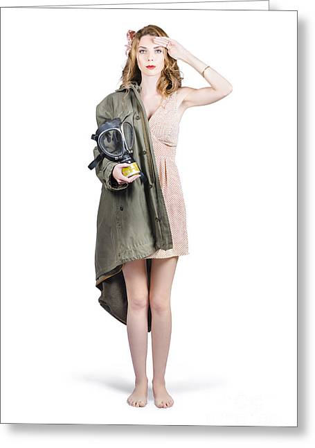Gasmask Greeting Cards - Attractive young Australian army pinup woman Greeting Card by Ryan Jorgensen