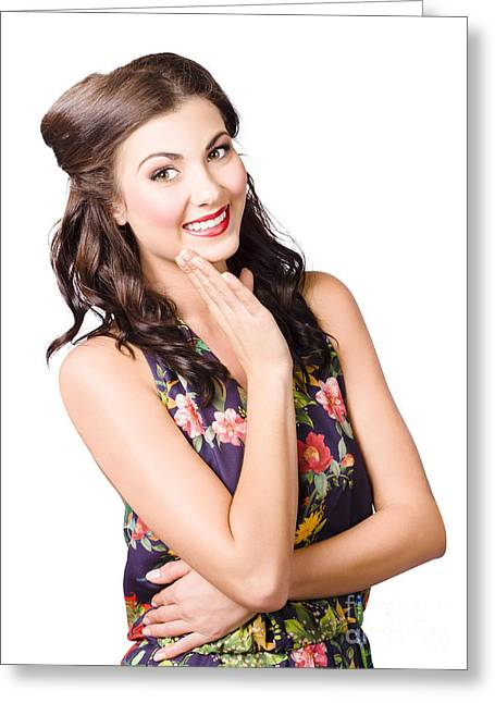 Attractive Young Woman. Clean Skin And Make-up Greeting Card by Jorgo Photography - Wall Art Gallery