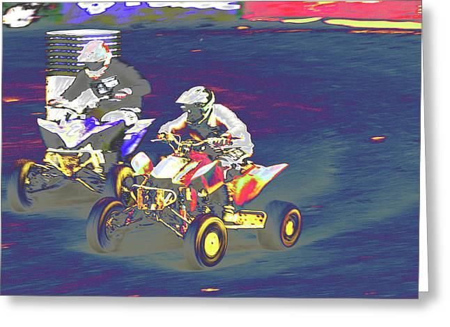 Atv Racing Greeting Card by Karol Livote