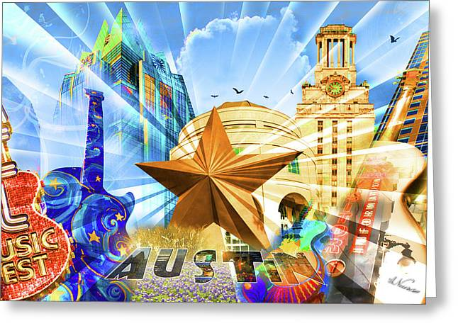 Ut Greeting Cards - ATX Montage Greeting Card by Andrew Nourse