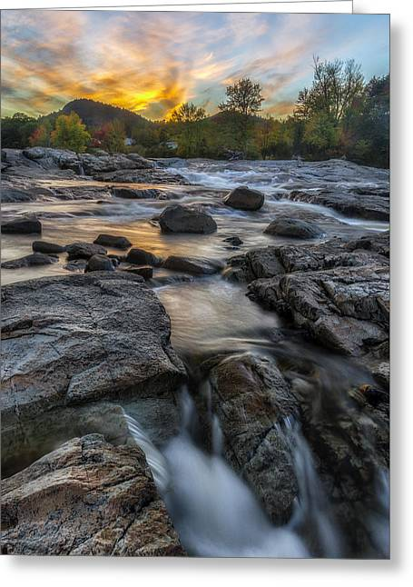 Colorful Cloud Formations Greeting Cards - Auasble River Sunset Greeting Card by Mark Papke