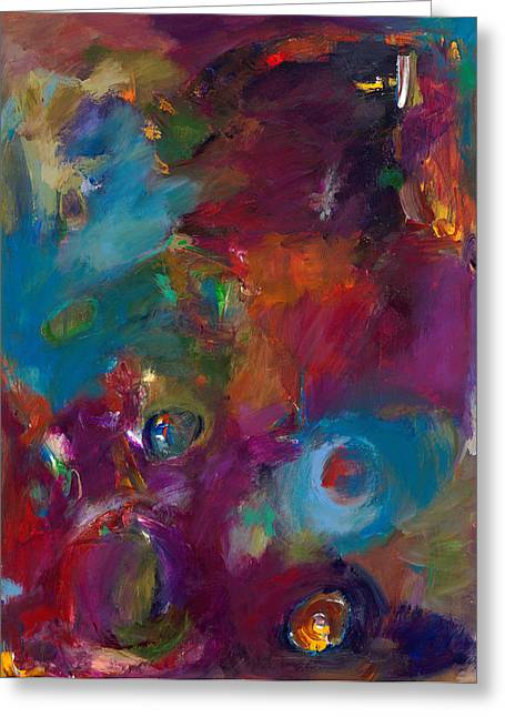 Abstract Spiritual Art Greeting Cards - Aubergine Mist Greeting Card by Johnathan Harris