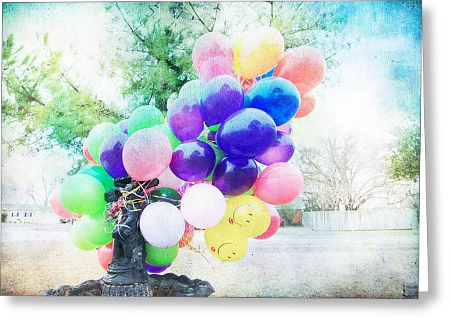 Textured Photograph Greeting Cards - Aubreys Balloons Greeting Card by Toni Hopper