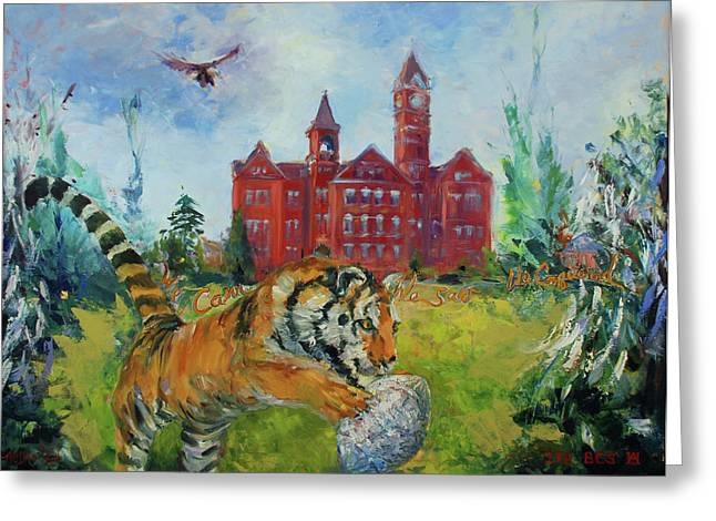 Toomers Corner Greeting Cards - Auburn Football Winning Year Greeting Card by Ann Bailey