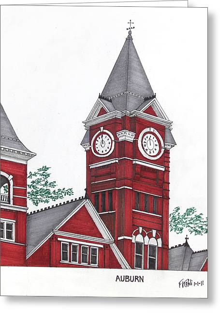 Famous University Buildings Drawings Greeting Cards - Auburn Greeting Card by Frederic Kohli