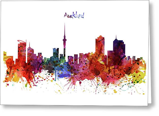 Modern Digital Art Digital Art Greeting Cards - Auckland Watercolor Skyline Greeting Card by Marian Voicu
