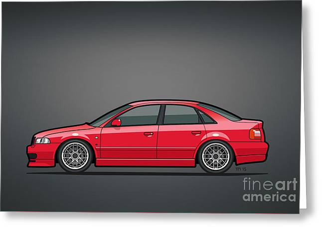 Audi A4 Quattro B5 Type 8d Sedan Laser Red Greeting Card by Monkey Crisis On Mars