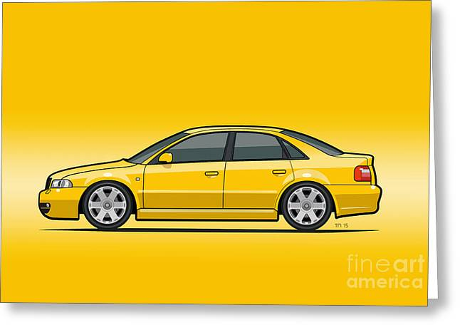 Audi A4 S4 Quattro B5 Type 8d Sedan Imola Yellow Greeting Card by Monkey Crisis On Mars