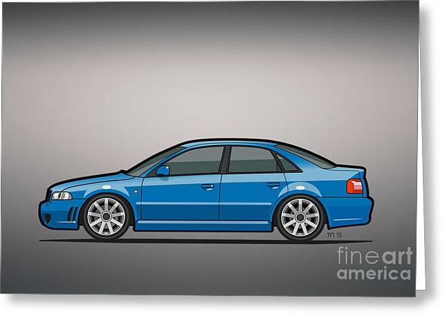 Audi A4 S4 Quattro B5 Type 8d Sedan Nogaro Blue Greeting Card by Monkey Crisis On Mars