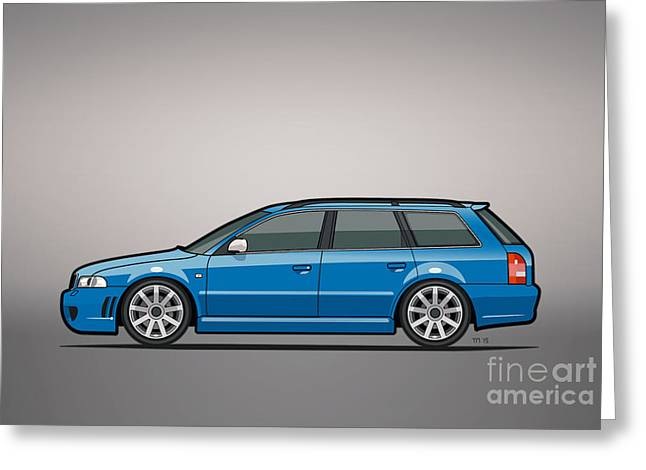 Audi Rs4 A4 Avant Quattro B5 Type 8d Wagon Nogaro Blue Greeting Card by Monkey Crisis On Mars