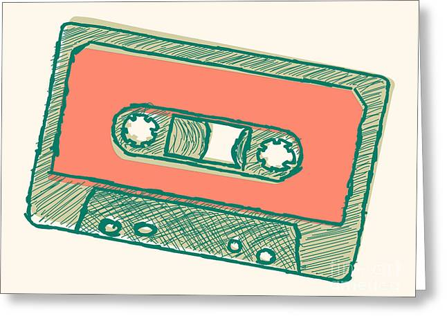 Audio Tape Sketch Greeting Card by Shawn Hempel