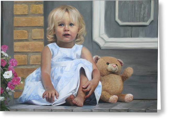 Portraits Oil Greeting Cards - Audrey Greeting Card by Anna Bain