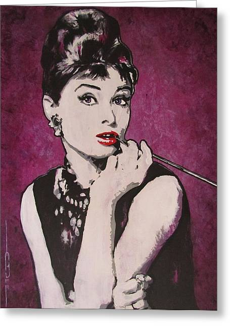 Audrey Hepburn - Breakfast Greeting Card by Eric Dee