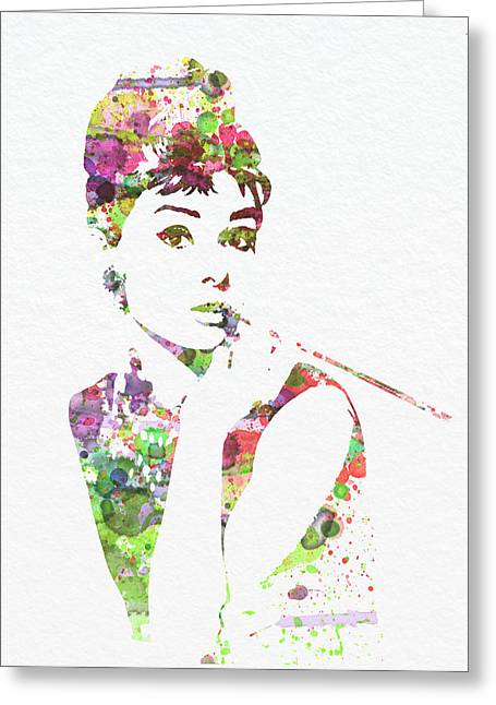 Film Watercolor Greeting Cards - Audrey Hepburn 2 Greeting Card by Naxart Studio