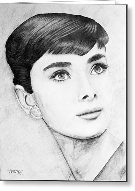 British Celebrities Greeting Cards - Audrey Hepburn Greeting Card by Alexander Ivanov