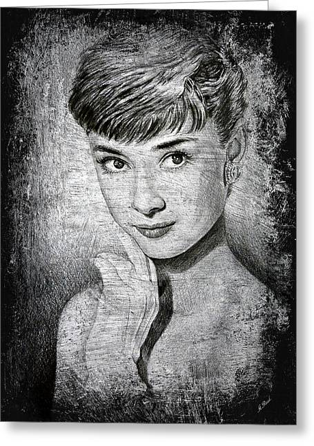 Movie Star Drawings Greeting Cards - Audrey Hepburn Greeting Card by Andrew Read