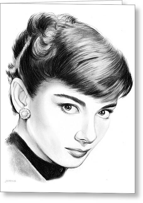 Audrey Hepburn Greeting Card by Greg Joens