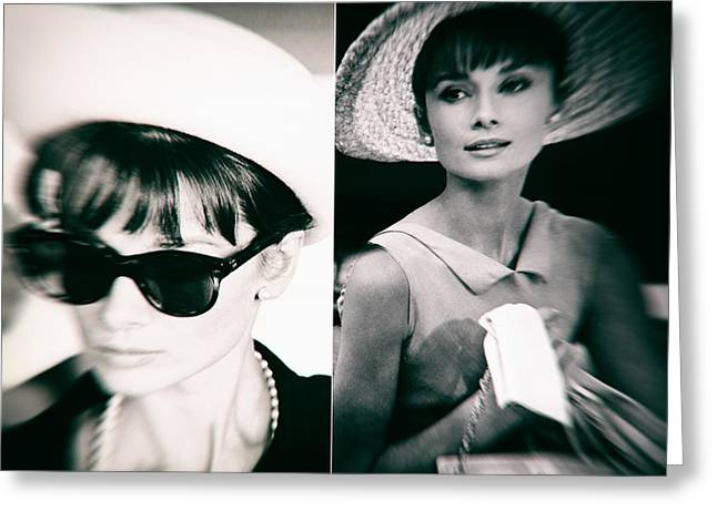 Audrey Hepburn In Black And White Greeting Card by Georgia Fowler