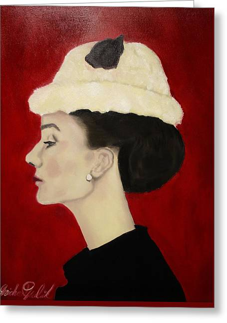 Michael Kulick Paintings Greeting Cards - Audrey Hepburn Greeting Card by Michael Kulick