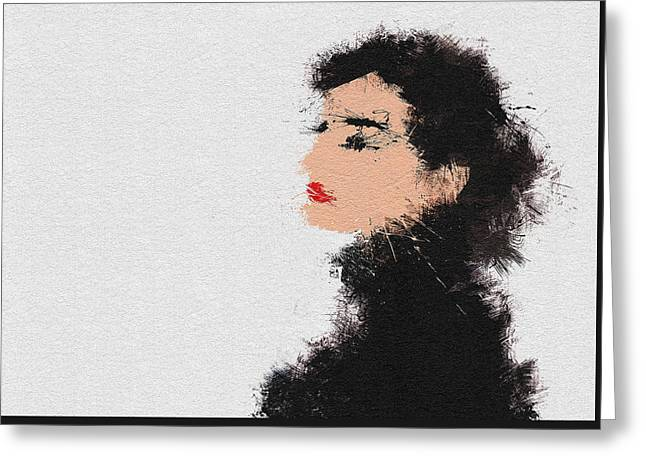 Character Portraits Paintings Greeting Cards - Audrey Hepburn Greeting Card by Miranda Sether