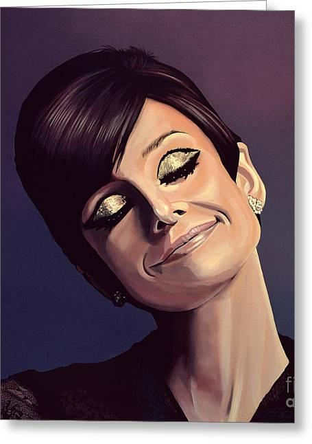 Audrey Hepburn Painting Greeting Card by Paul Meijering