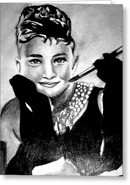 Audrey Hepburn Greeting Card by Pauline Murphy