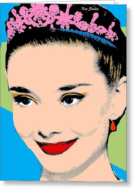 Tiara Paintings Greeting Cards - Audrey Hepburn Pop Art Blue Green Greeting Card by Bao Studio