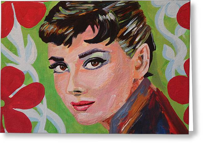 1950s Portraits Paintings Greeting Cards - Audrey Hepburn Portrait Greeting Card by Robert Yaeger